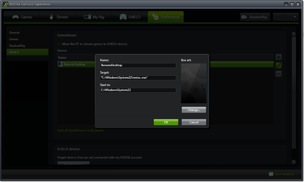 Adding remote desktop as Nvidia GameStream custom game