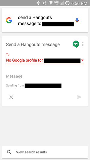 No Google profile for contact found