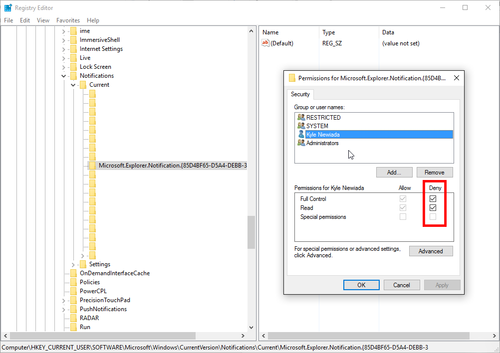 Denying full control permissions in Windows registry