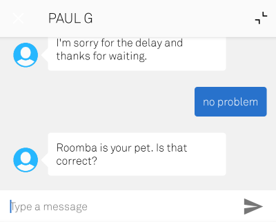 Chat conversation with Gary from customer support