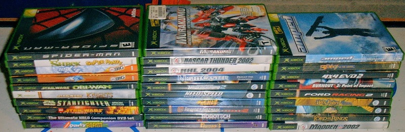 Childhood collection of Xbox games